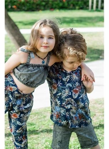 Hilal Akıncı Kids Kiz Çocuk Yaprak Desenlı Salaş Pantolon Kot Büstıyer Ikılı Takim Lacivert